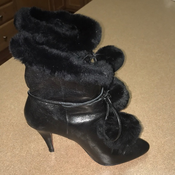 Womens Betsey Black Suede Fleece Lined Ankle Boots Size